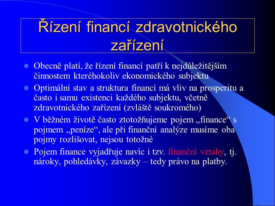 """Řízení financí zdravotnického zařízení Obecně platí, že řízení financí patří k nejdůležitějším činnostem kteréhokoliv ekonomického subjektu Optimální stav a struktura financí má vliv na prosperitu a často i samu existenci každého subjektu, včetně zdravotnického zařízení (zvláště soukromého) V běžném životě často ztotožňujeme pojem """"finance s pojmem """"peníze , ale při finanční analýze musíme oba pojmy rozlišovat, nejsou totožné Pojem finance vyjadřuje navíc i tzv."""