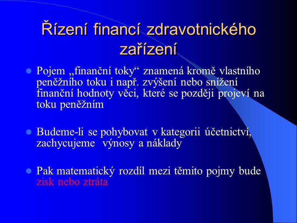 """Řízení financí zdravotnického zařízení Pojem """"finanční toky znamená kromě vlastního peněžního toku i např."""