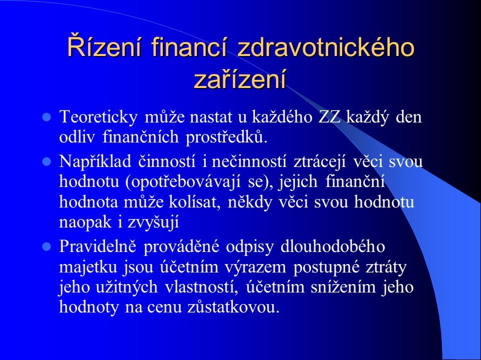 Řízení financí zdravotnického zařízení Teoreticky může nastat u každého ZZ každý den odliv finančních prostředků.