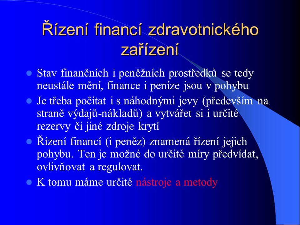 Řízení financí zdravotnického zařízení Stav finančních i peněžních prostředků se tedy neustále mění, finance i peníze jsou v pohybu Je třeba počítat i s náhodnými jevy (především na straně výdajů-nákladů) a vytvářet si i určité rezervy či jiné zdroje krytí Řízení financí (i peněz) znamená řízení jejich pohybu.