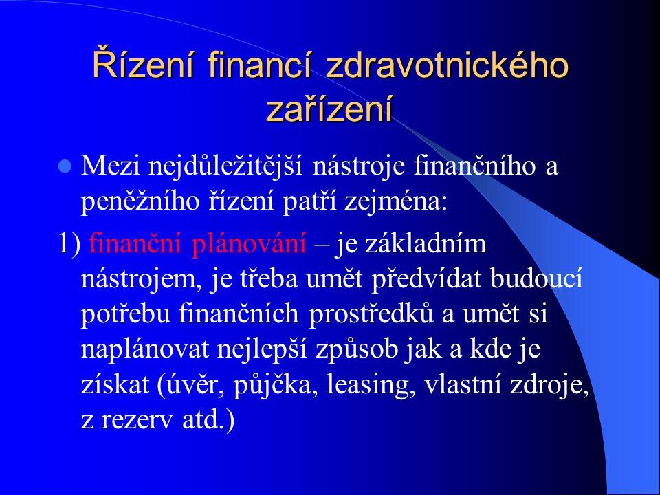 Řízení financí zdravotnického zařízení Mezi nejdůležitější nástroje finančního a peněžního řízení patří zejména: 1) finanční plánování – je základním nástrojem, je třeba umět předvídat budoucí potřebu finančních prostředků a umět si naplánovat nejlepší způsob jak a kde je získat (úvěr, půjčka, leasing, vlastní zdroje, z rezerv atd.)