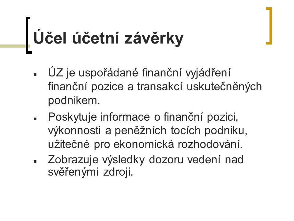 Účel účetní závěrky ÚZ je uspořádané finanční vyjádření finanční pozice a transakcí uskutečněných podnikem.