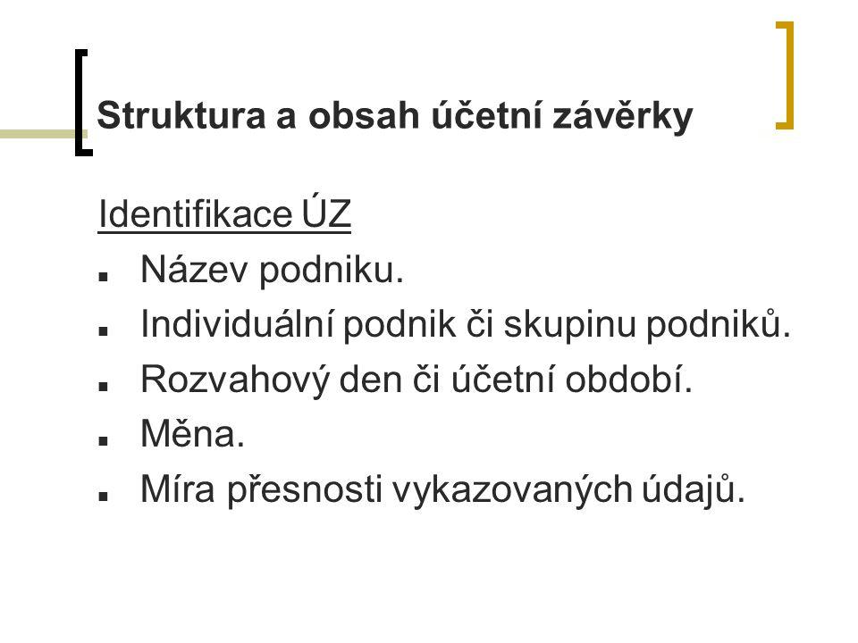 Struktura a obsah účetní závěrky Identifikace ÚZ Název podniku.
