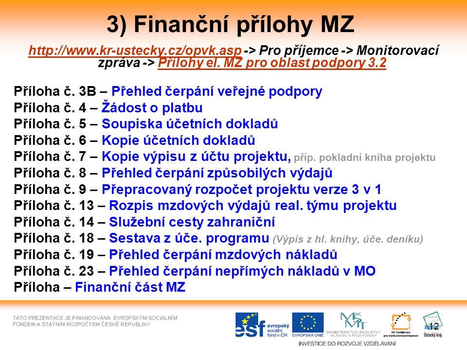 12 3) Finanční přílohy MZ http://www.kr-ustecky.cz/opvk.asphttp://www.kr-ustecky.cz/opvk.asp -> Pro příjemce -> Monitorovací zpráva -> Přílohy el. MZ