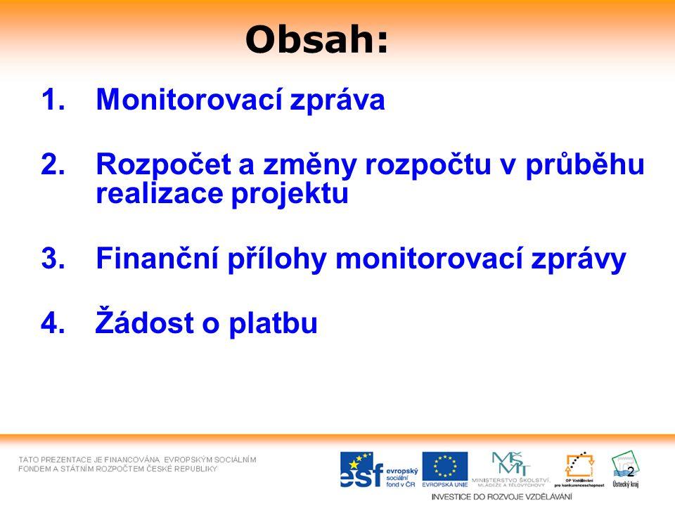 2 Obsah: 1.Monitorovací zpráva 2.Rozpočet a změny rozpočtu v průběhu realizace projektu 3.Finanční přílohy monitorovací zprávy 4.Žádost o platbu
