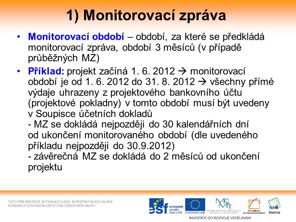 4 1) Monitorovací zpráva Monitorovací období – období, za které se předkládá monitorovací zpráva, období 3 měsíců (v případě průběžných MZ) Příklad: p