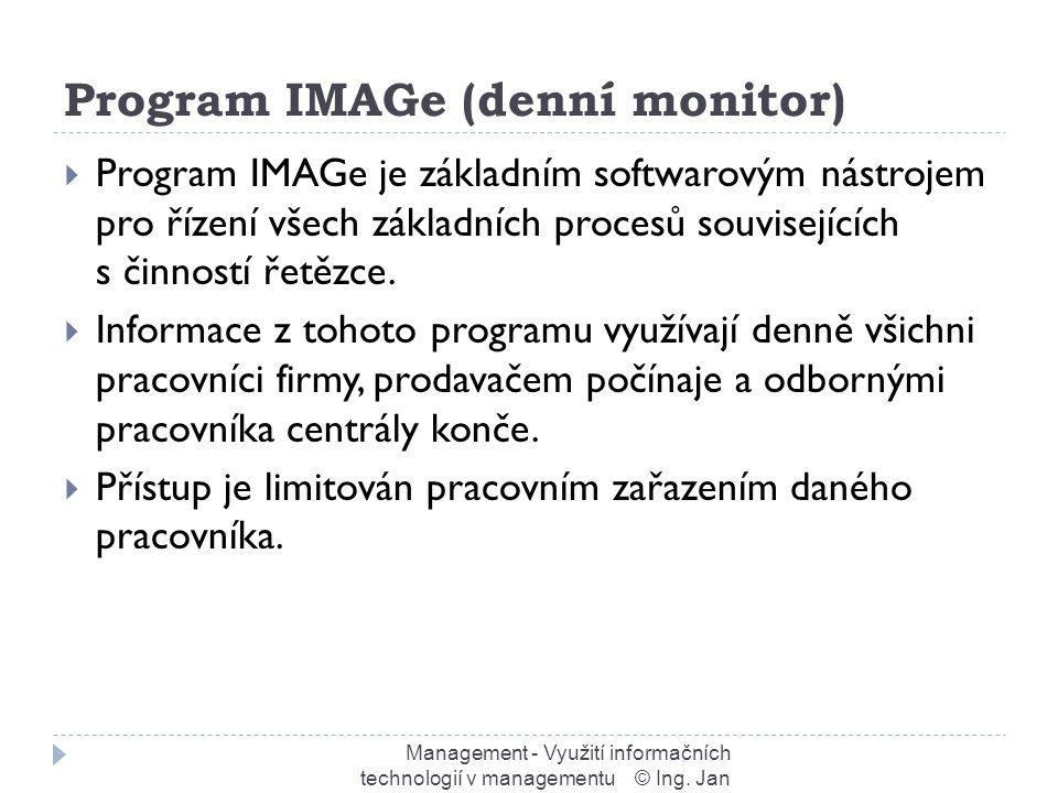 Program IMAGe (denní monitor) Management - Využití informačních technologií v managementu © Ing.