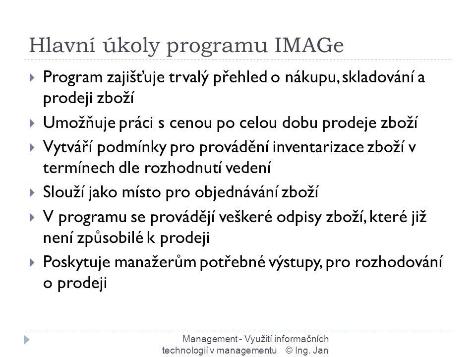 Hlavní úkoly programu IMAGe Management - Využití informačních technologií v managementu © Ing.