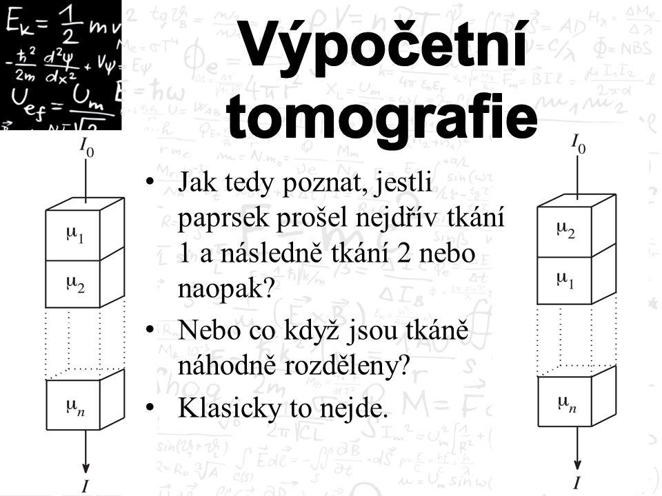 Jak tedy poznat, jestli paprsek prošel nejdřív tkání 1 a následně tkání 2 nebo naopak.