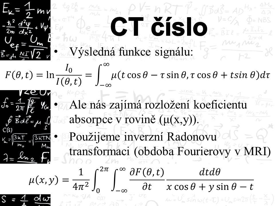 Výsledná funkce signálu: Ale nás zajímá rozložení koeficientu absorpce v rovině (μ(x,y)).