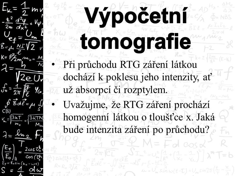 Při průchodu RTG záření látkou dochází k poklesu jeho intenzity, ať už absorpcí či rozptylem.