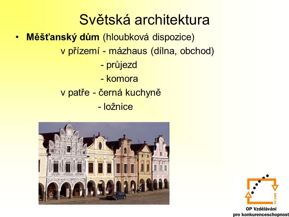 Světská architektura Měšťanský dům (hloubková dispozice) v přízemí - mázhaus (dílna, obchod) - průjezd - komora v patře - černá kuchyně - ložnice