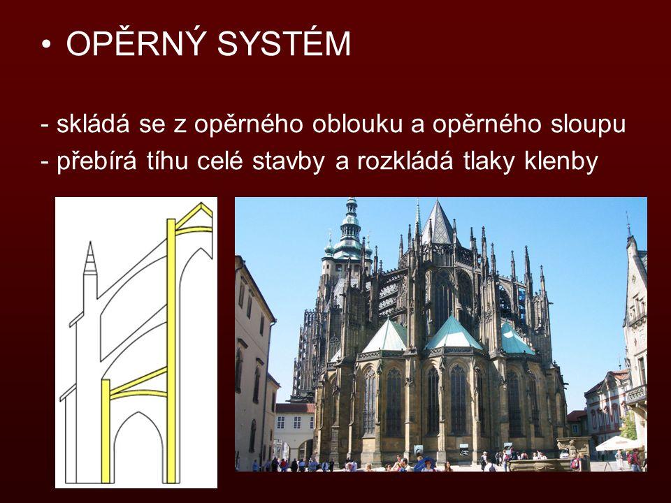OPĚRNÝ SYSTÉM - skládá se z opěrného oblouku a opěrného sloupu - přebírá tíhu celé stavby a rozkládá tlaky klenby