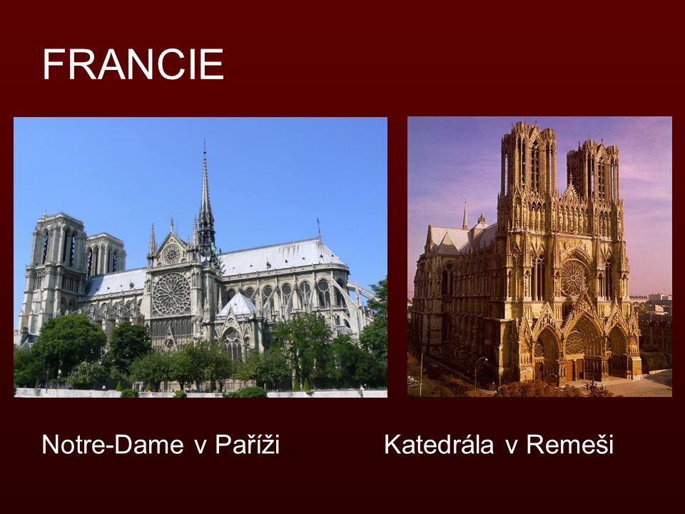 FRANCIE Notre-Dame v Paříži Katedrála v Remeši