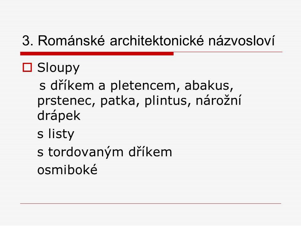 3. Románské architektonické názvosloví  Sloupy s dříkem a pletencem, abakus, prstenec, patka, plintus, nárožní drápek s listy s tordovaným dříkem osm