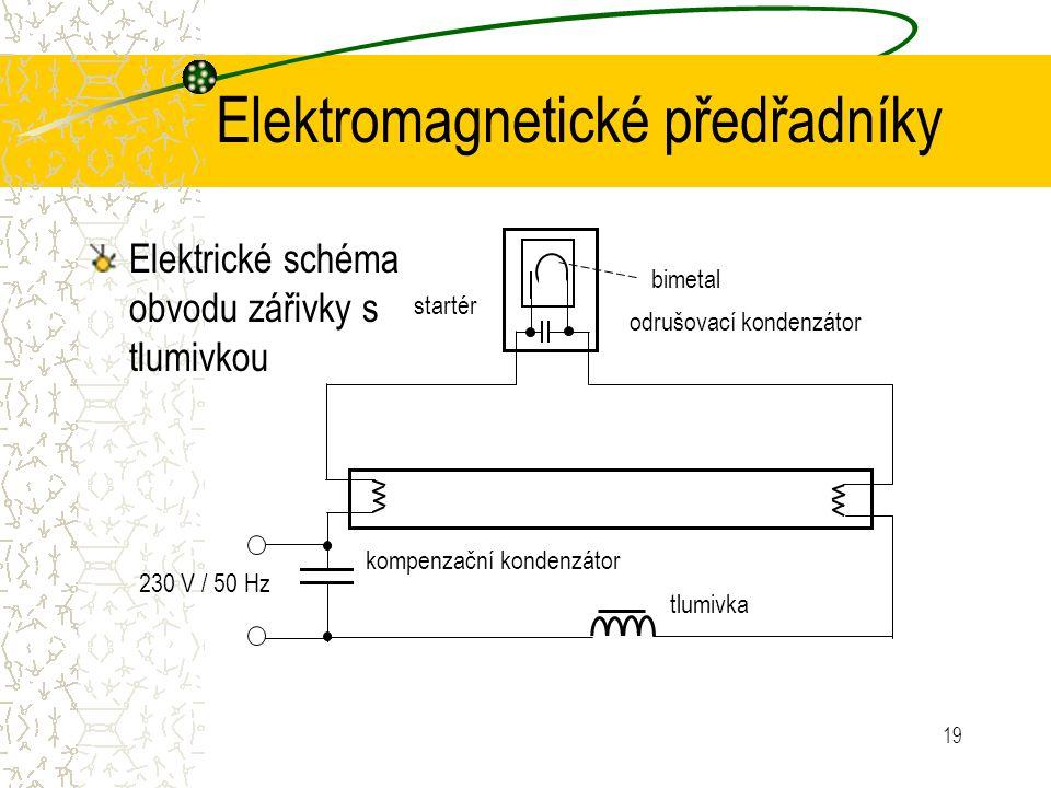 19 Elektromagnetické předřadníky Elektrické schéma obvodu zářivky s tlumivkou bimetal startér odrušovací kondenzátor kompenzační kondenzátor tlumivka 230 V / 50 Hz