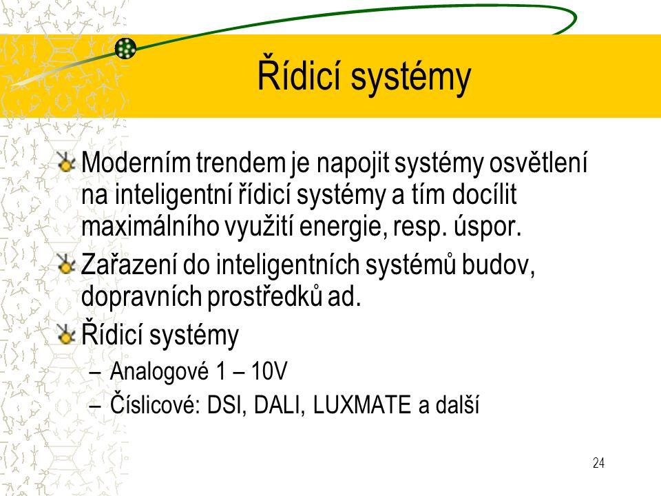 24 Řídicí systémy Moderním trendem je napojit systémy osvětlení na inteligentní řídicí systémy a tím docílit maximálního využití energie, resp. úspor.