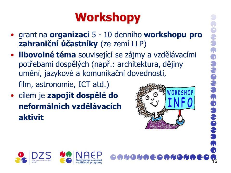15 Workshopy grant na organizaci 5 - 10 denního workshopu pro zahraniční účastníky (ze zemí LLP) libovolné téma související se zájmy a vzdělávacími potřebami dospělých (např.: architektura, dějiny umění, jazykové a komunikační dovednosti, film, astronomie, ICT atd.) cílem je zapojit dospělé do neformálních vzdělávacích aktivit