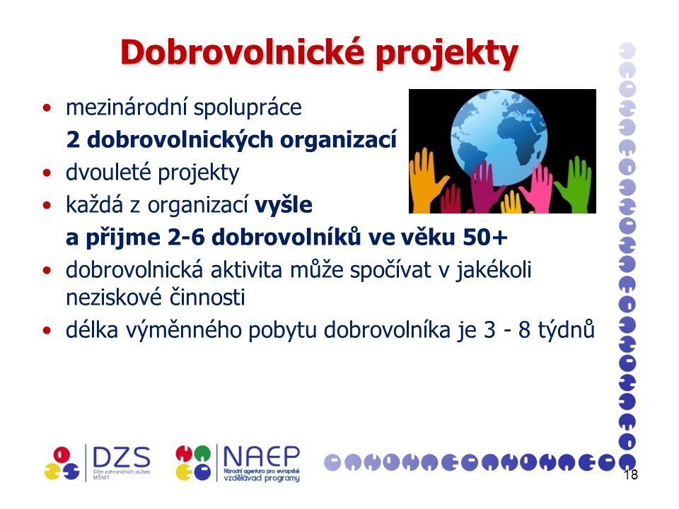 18 Dobrovolnické projekty mezinárodní spolupráce 2 dobrovolnických organizací dvouleté projekty každá z organizací vyšle a přijme 2-6 dobrovolníků ve věku 50+ dobrovolnická aktivita může spočívat v jakékoli neziskové činnosti délka výměnného pobytu dobrovolníka je 3 - 8 týdnů