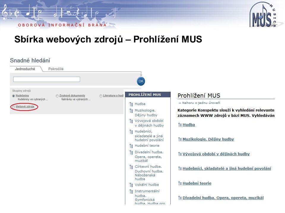 Sbírka webových zdrojů – Prohlížení MUS –