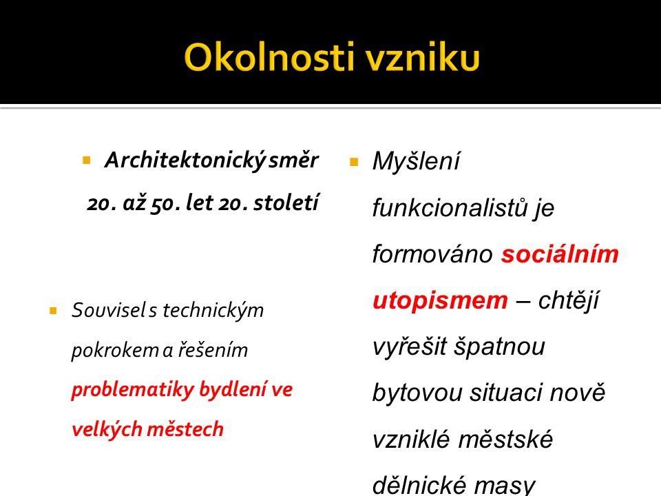  Architektonický směr 20. až 50. let 20. století  Souvisel s technickým pokrokem a řešením problematiky bydlení ve velkých městech  Myšlení funkcio