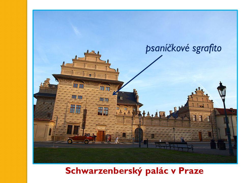 Schwarzenberský palác v Praze psaníčkové sgrafito