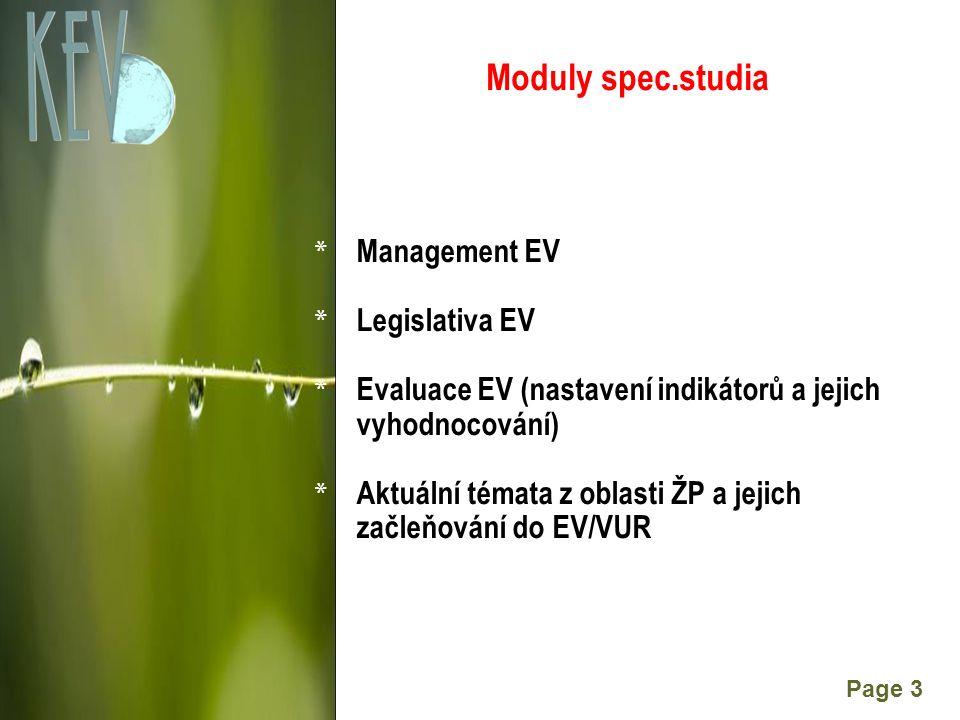 Powerpoint Templates Page 3 Moduly spec.studia * Management EV * Legislativa EV * Evaluace EV (nastavení indikátorů a jejich vyhodnocování) * Aktuální témata z oblasti ŽP a jejich začleňování do EV/VUR
