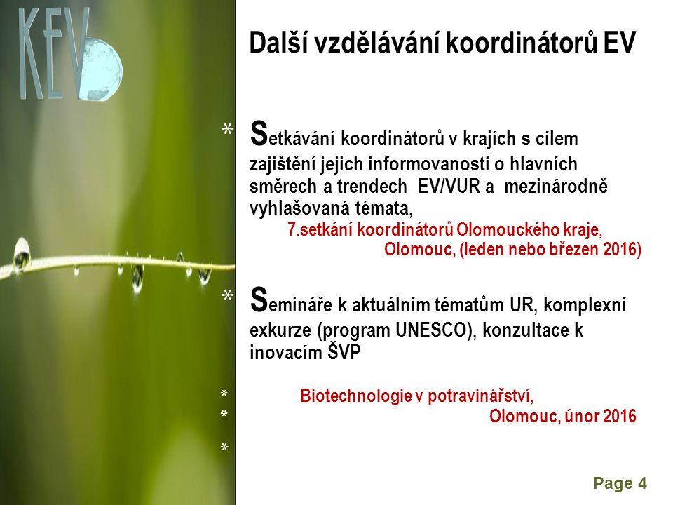 Powerpoint Templates Page 4 Další vzdělávání koordinátorů EV * S etkávání koordinátorů v krajích s cílem zajištění jejich informovanosti o hlavních směrech a trendech EV/VUR a mezinárodně vyhlašovaná témata, 7.setkání koordinátorů Olomouckého kraje, Olomouc, (leden nebo březen 2016) * S emináře k aktuálním tématům UR, komplexní exkurze (program UNESCO), konzultace k inovacím ŠVP * Biotechnologie v potravinářství, * Olomouc, únor 2016 *