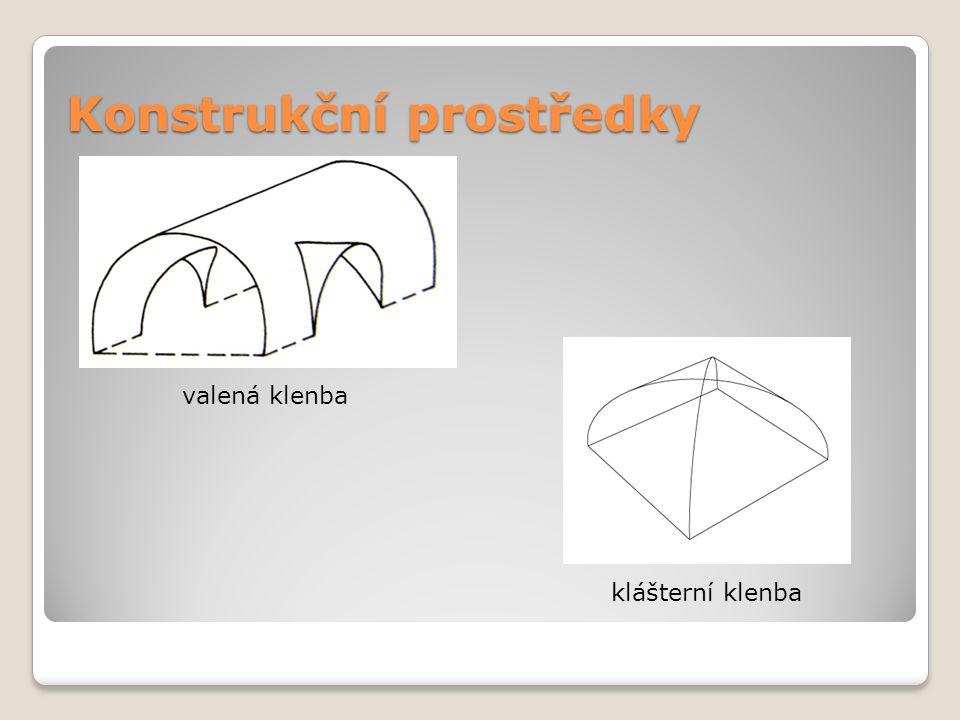 Konstrukční prostředky valená klenba klášterní klenba
