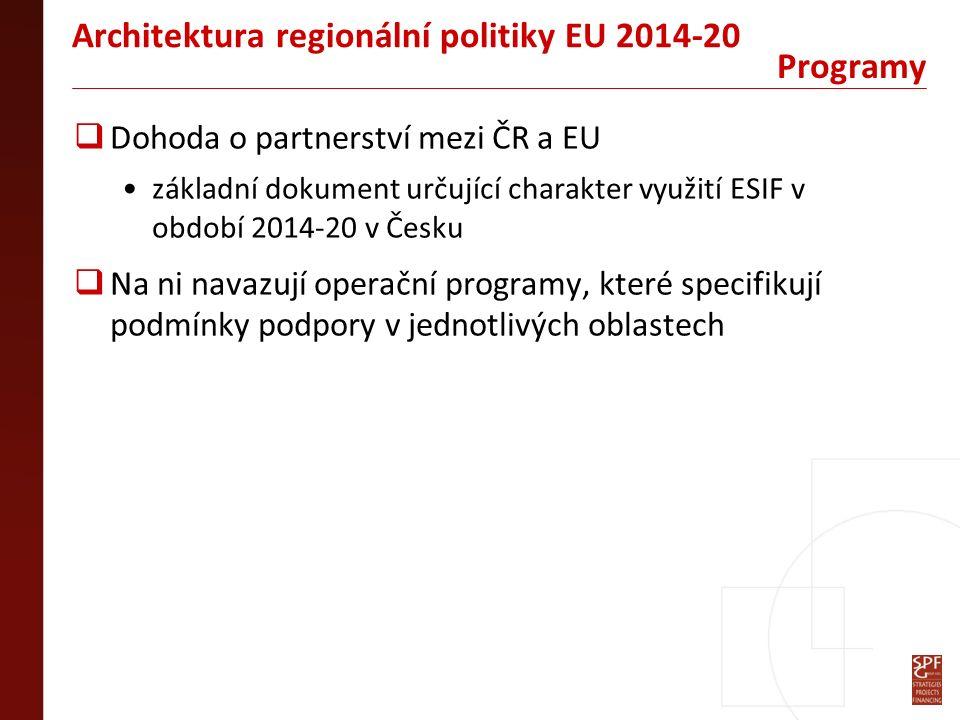  Dohoda o partnerství mezi ČR a EU základní dokument určující charakter využití ESIF v období 2014-20 v Česku  Na ni navazují operační programy, které specifikují podmínky podpory v jednotlivých oblastech Programy Architektura regionální politiky EU 2014-20