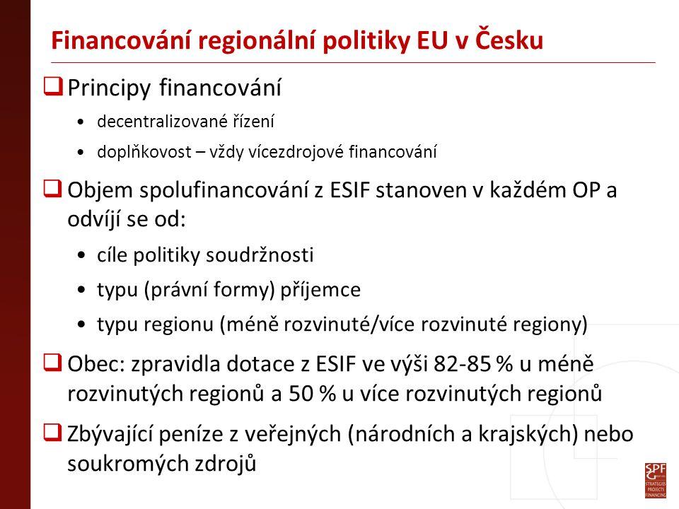 Financování regionální politiky EU v Česku  Principy financování decentralizované řízení doplňkovost – vždy vícezdrojové financování  Objem spolufinancování z ESIF stanoven v každém OP a odvíjí se od: cíle politiky soudržnosti typu (právní formy) příjemce typu regionu (méně rozvinuté/více rozvinuté regiony)  Obec: zpravidla dotace z ESIF ve výši 82-85 % u méně rozvinutých regionů a 50 % u více rozvinutých regionů  Zbývající peníze z veřejných (národních a krajských) nebo soukromých zdrojů