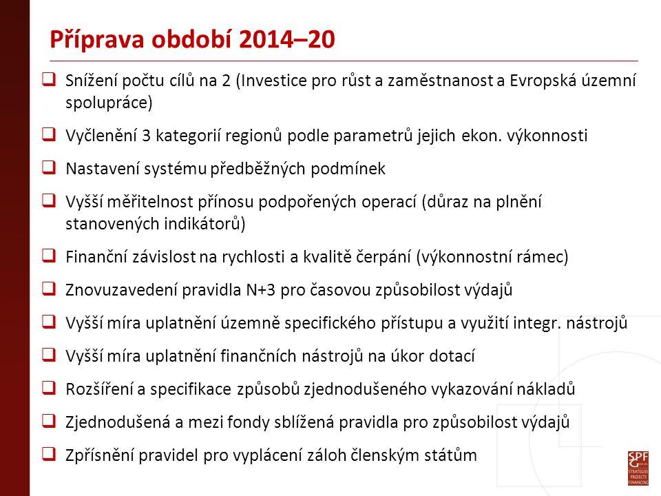 Příprava období 2014–20  Snížení počtu cílů na 2 (Investice pro růst a zaměstnanost a Evropská územní spolupráce)  Vyčlenění 3 kategorií regionů podle parametrů jejich ekon.