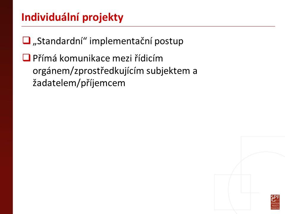 """Individuální projekty  """"Standardní implementační postup  Přímá komunikace mezi řídicím orgánem/zprostředkujícím subjektem a žadatelem/příjemcem"""