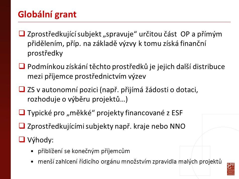 """Globální grant  Zprostředkující subjekt """"spravuje určitou část OP a přímým přidělením, příp."""
