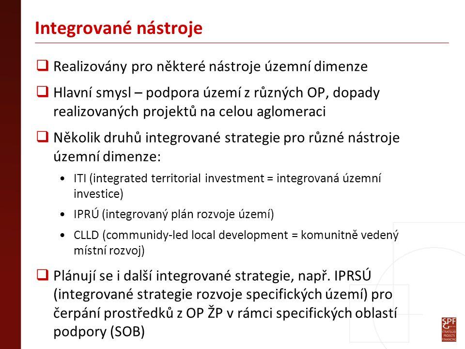 Integrované nástroje  Realizovány pro některé nástroje územní dimenze  Hlavní smysl – podpora území z různých OP, dopady realizovaných projektů na celou aglomeraci  Několik druhů integrované strategie pro různé nástroje územní dimenze: ITI (integrated territorial investment = integrovaná územní investice) IPRÚ (integrovaný plán rozvoje území) CLLD (communidy-led local development = komunitně vedený místní rozvoj)  Plánují se i další integrované strategie, např.