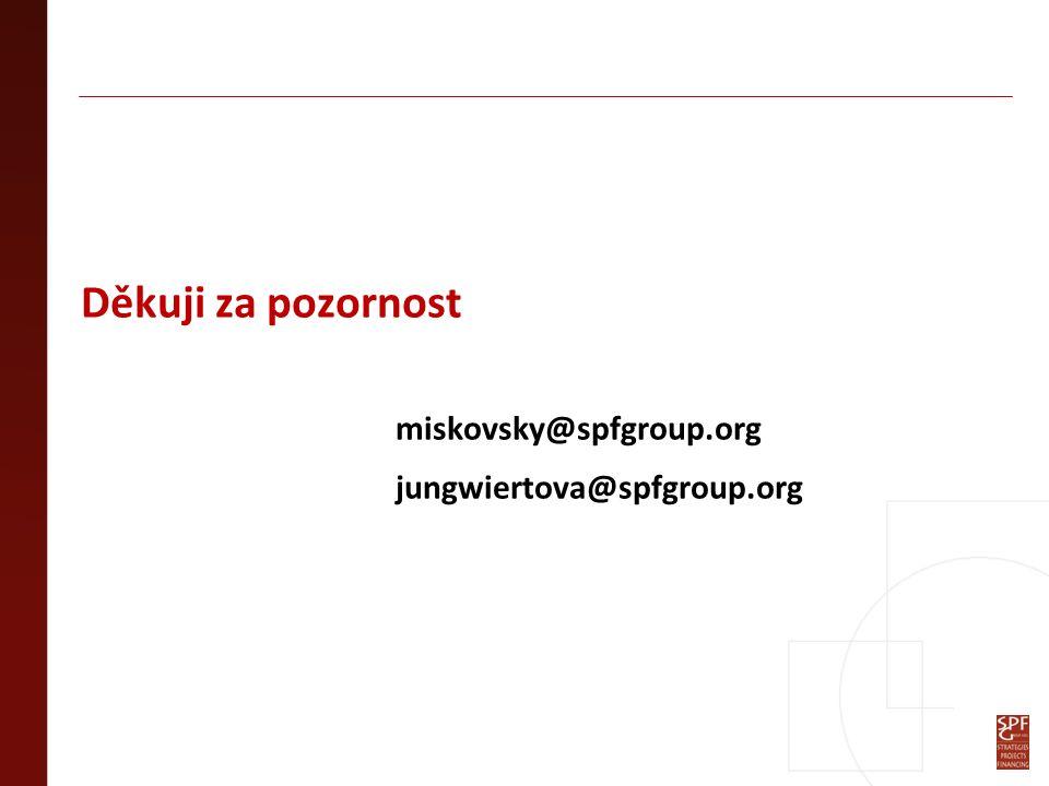 Děkuji za pozornost miskovsky@spfgroup.org jungwiertova@spfgroup.org
