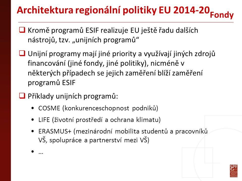 """Architektura regionální politiky EU 2014-20  Investice pro růst a zaměstnanost – podpora ze všech fondů  Evropská územní spolupráce – podpora pouze z EFRR (ERDF)  Spíše jde o """"komplexní priority než o """"cíle Cíle"""