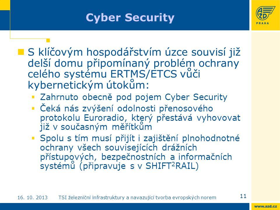 Cyber Security S klíčovým hospodářstvím úzce souvisí již delší domu připomínaný problém ochrany celého systému ERTMS/ETCS vůči kybernetickým útokům:  Zahrnuto obecně pod pojem Cyber Security  Čeká nás zvýšení odolnosti přenosového protokolu Euroradio, který přestává vyhovovat již v současným měřítkům  Spolu s tím musí přijít i zajištění plnohodnotné ochrany všech souvisejících drážních přístupových, bezpečnostních a informačních systémů (připravuje s v SHIFT 2 RAIL) 11 16.