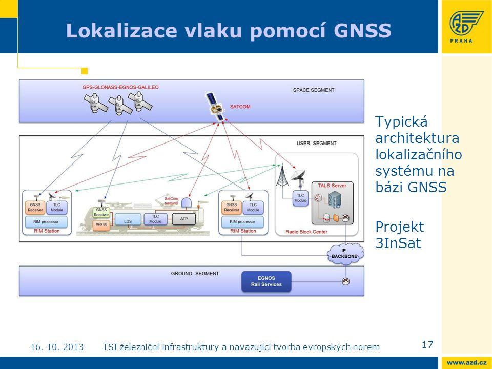 Lokalizace vlaku pomocí GNSS Typická architektura lokalizačního systému na bázi GNSS Projekt 3InSat 17 16.