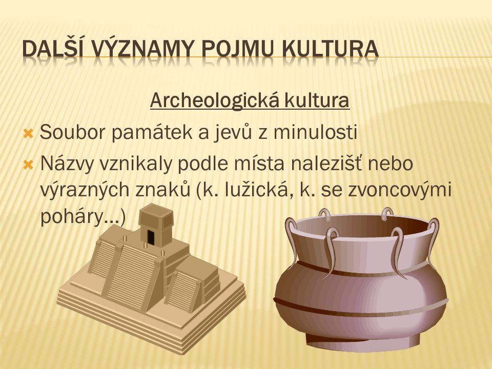 Archeologická kultura  Soubor památek a jevů z minulosti  Názvy vznikaly podle místa nalezišť nebo výrazných znaků (k. lužická, k. se zvoncovými poh