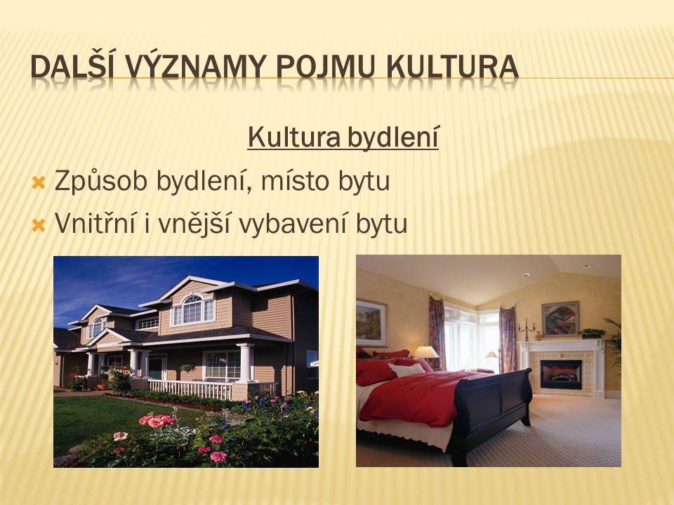 Kultura bydlení  Způsob bydlení, místo bytu  Vnitřní i vnější vybavení bytu