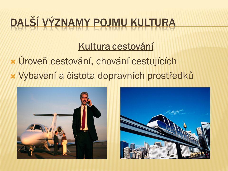 Kultura cestování  Úroveň cestování, chování cestujících  Vybavení a čistota dopravních prostředků