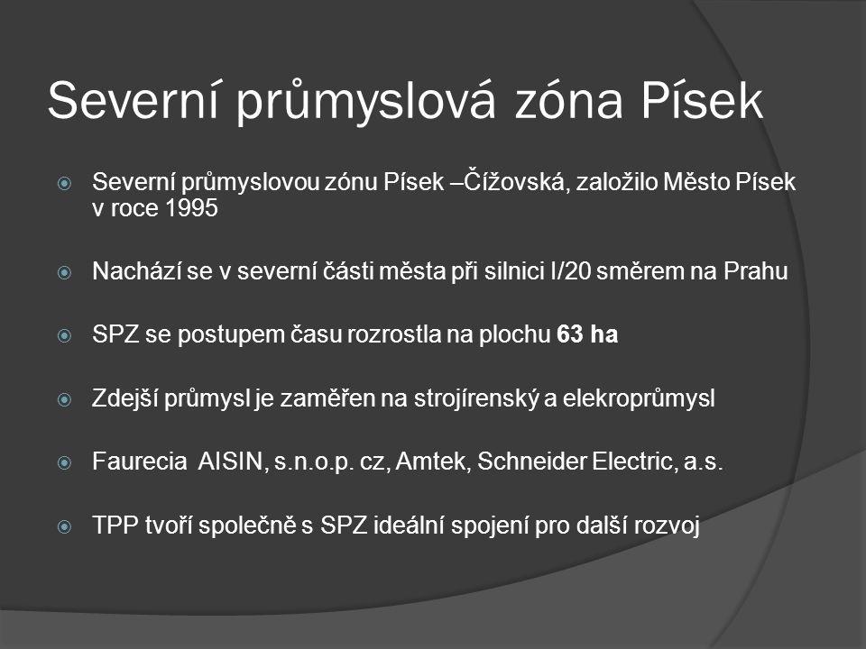 Severní průmyslová zóna Písek  Severní průmyslovou zónu Písek –Čížovská, založilo Město Písek v roce 1995  Nachází se v severní části města při silnici I/20 směrem na Prahu  SPZ se postupem času rozrostla na plochu 63 ha  Zdejší průmysl je zaměřen na strojírenský a elekroprůmysl  Faurecia AISIN, s.n.o.p.