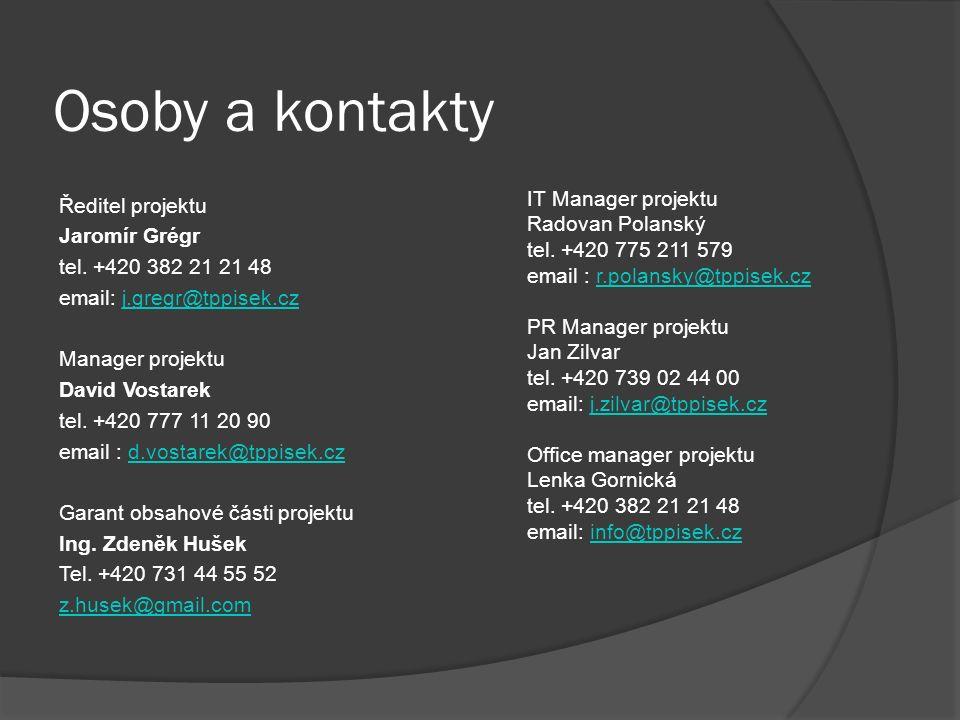 Osoby a kontakty Ředitel projektu Jaromír Grégr tel. +420 382 21 21 48 email: j.gregr@tppisek.czj.gregr@tppisek.cz Manager projektu David Vostarek tel