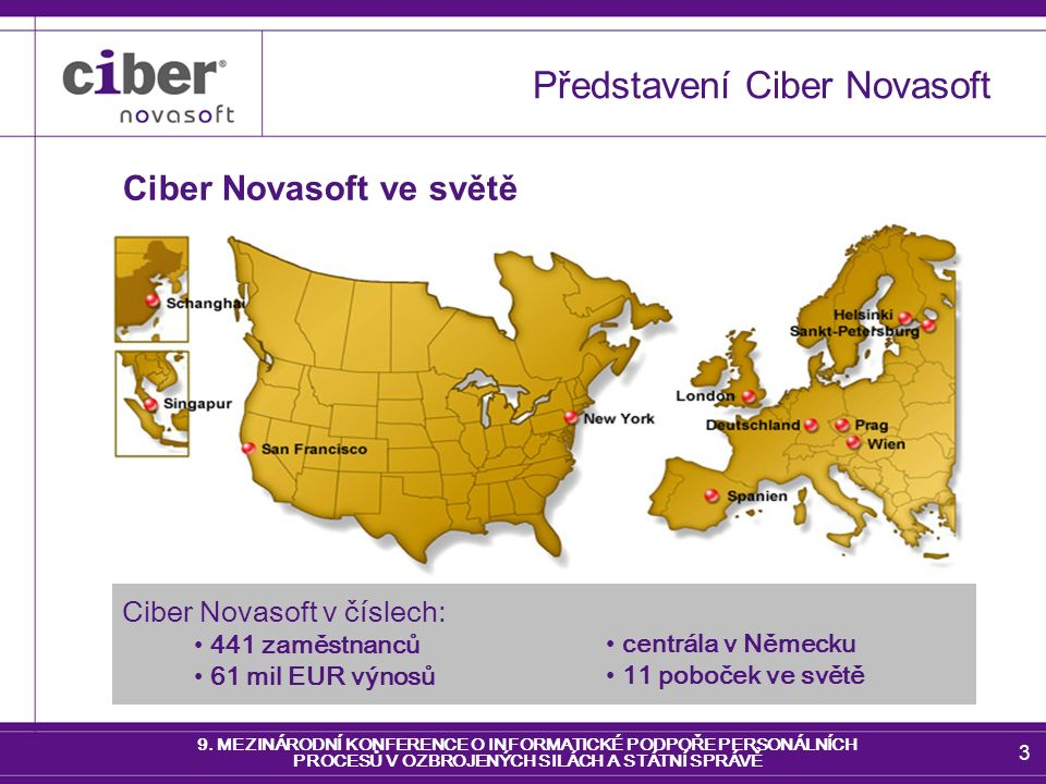 9. MEZINÁRODNÍ KONFERENCE O INFORMATICKÉ PODPOŘE PERSONÁLNÍCH PROCESŮ V OZBROJENÝCH SILÁCH A STÁTNÍ SPRÁVĚ 3 Představení Ciber Novasoft Ciber Novasoft