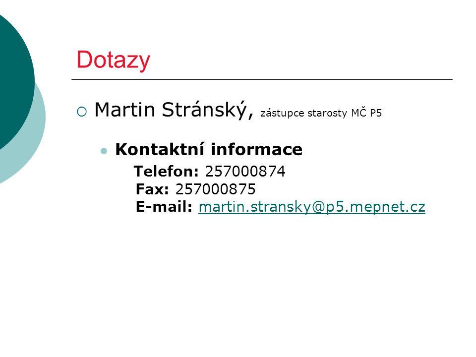 Dotazy  Martin Stránský, zástupce starosty MČ P5 Kontaktní informace Telefon: 257000874 Fax: 257000875 E-mail: martin.stransky@p5.mepnet.czmartin.stransky@p5.mepnet.cz