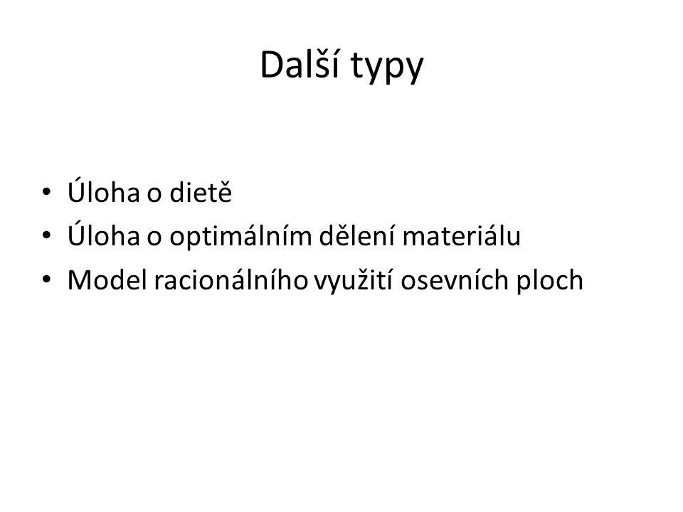Další typy Úloha o dietě Úloha o optimálním dělení materiálu Model racionálního využití osevních ploch