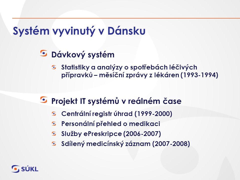 Systém vyvinutý v Dánsku Dávkový systém Statistiky a analýzy o spotřebách léčivých přípravků – měsíční zprávy z lékáren (1993-1994) Projekt IT systémů v reálném čase Centrální registr úhrad (1999-2000) Personální přehled o medikaci Služby ePreskripce (2006-2007) Sdílený medicínský záznam (2007-2008)