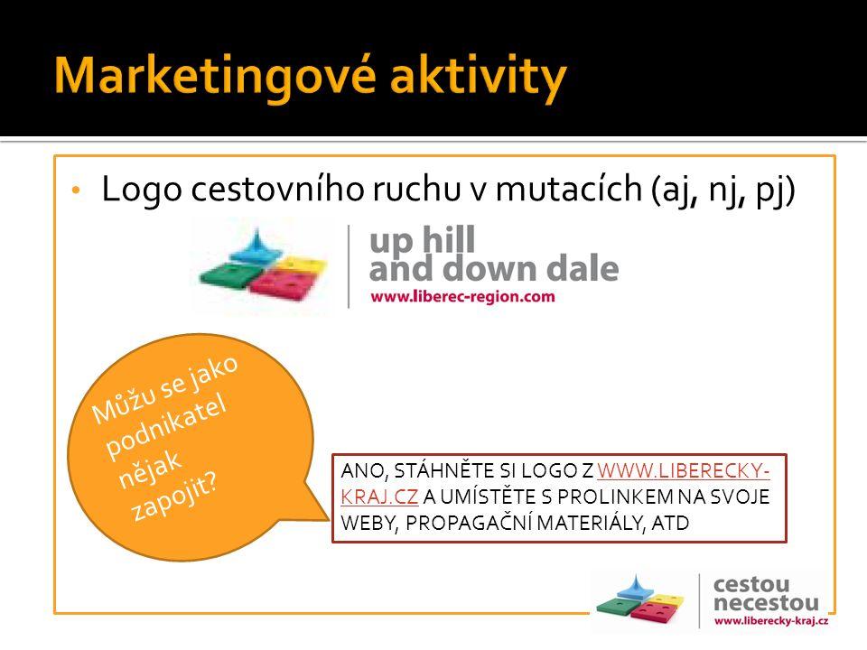 Logo cestovního ruchu v mutacích (aj, nj, pj) Můžu se jako podnikatel nějak zapojit? ANO, STÁHNĚTE SI LOGO Z WWW.LIBERECKY- KRAJ.CZ A UMÍSTĚTE S PROLI