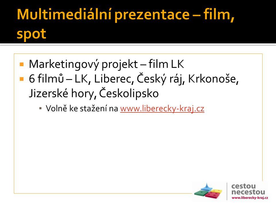  Marketingový projekt – film LK  6 filmů – LK, Liberec, Český ráj, Krkonoše, Jizerské hory, Českolipsko ▪ Volně ke stažení na www.liberecky-kraj.czw